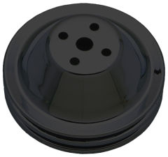 WATER PUMP Pulley; 2 Groove; CHEVY SB (55-68)0; SHORT Water Pump-ASPHALT BLACK