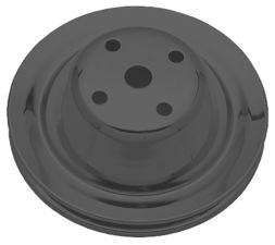 WATER PUMP Pulley; 1 Groove; CHEVY SB (69-85); LONG Water Pump- ASPHALT BLACK