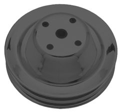 WATER PUMP Pulley; 2 Groove; CHEVY SB (69-85); LONG Water Pump- ASPHALT BLACK