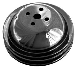 WATER PUMP Pulley; 2 Groove; CHEVY BB (65-68); SHORT Water Pump-ASPHALT BLACK