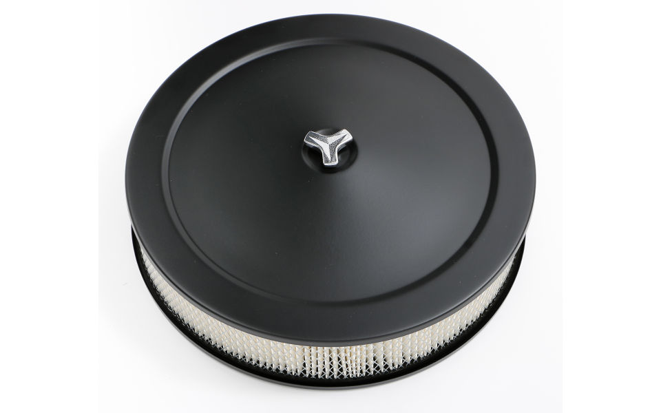 Photo of 14 in. Round x 3 in. tall air cleaner set with offset base.