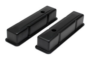 CHEVY 283-400 TALL ASPHALT BLACK POWDER COATED VALVE COVERS- UNBAFFLED
