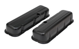 CHEVY 396-502 TALL ASPHALT BLACK POWDER COATED VALVE COVERS- UNBAFFLED