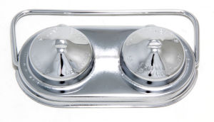 Master Cylinder Cover; Early GM (67-80); 2-3/8 in. X 5 in.; SINGLE Bail-CHROME
