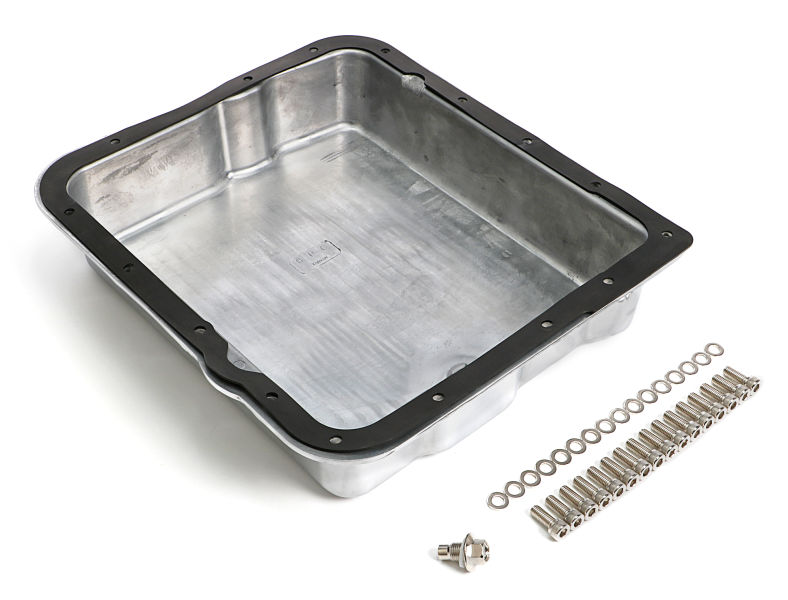 POLISHED ALUMINUM TRANSMISSION PAN; FINNED; GM 700R4 & 4L60
