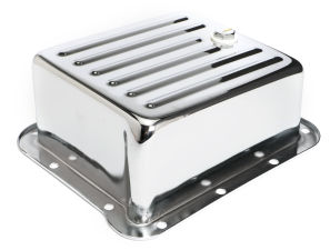 CHROME STEEL EXTRA CAPACITY TRANSMISSION PAN; FINNED; FORD C4