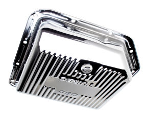 TH350-CHROME Transmission Pan; Stock Capacity; Stock Depth; FINNED Bottom
