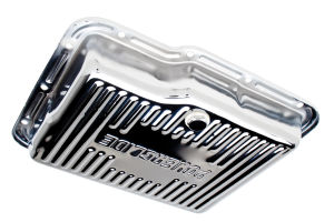 POWERGLIDE-CHROME Transmission Pan; Stock Capacity; Stock Depth; FINNED Bottom