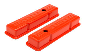 CHEVY 350 LOGO SHORT ORANGE POWDER COATED VALVE COVERS