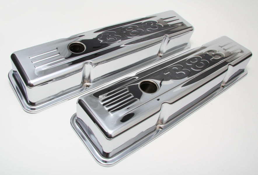 wide angle view of short style chrome valve covers for SB CHEVY 383
