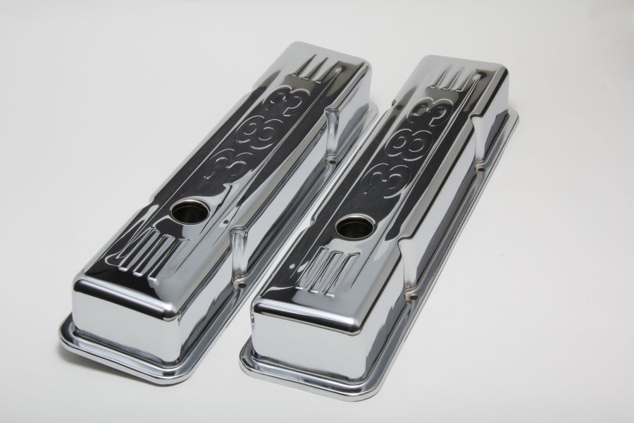 Photo of short style chrome valve covers for SB CHEVY 383