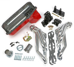 Chevy V8 in 2WD S10 / S15 Engine Swap Kit; HTC COATED Headers- ANGLE PLUG Head