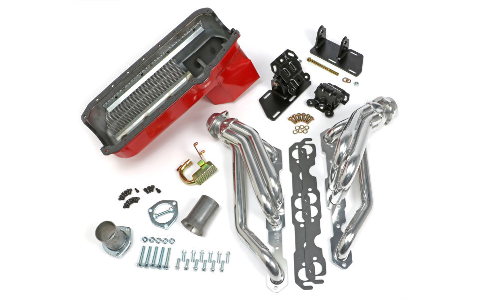 Chevy V8 into 2WD S10/S15 Engine Swap Kit; HTC COATED Headers- ANGLE PLUG Heads