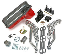 Chevy V8 into 2WD S10 / S15 Engine Swap Kit; HTC COATED Headers- D-PORT Head