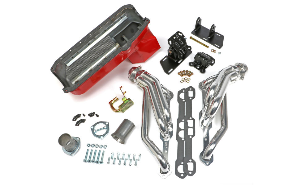 Chevy V8 into 2WD S10/S15 Engine Swap Kit; HTC COATED Headers- D-PORT Heads