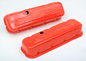 CHEVY 454 LOGO TALL ORANGE POWDER COATED VALVE COVERS