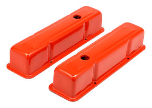 CHEVY 283-400 TALL ORANGE POWDER COATED BAFFLED VALVE COVERS